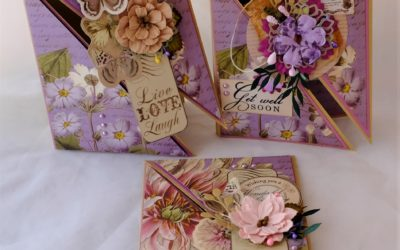 Couture Creations Butterfly Garden Diagonal cut Greeting Cards