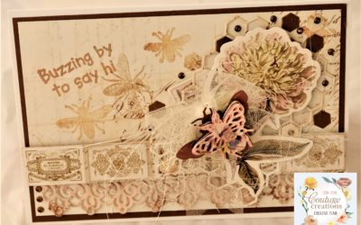 Couture Creations Butterfly Garden Buzzing by to say hi Greeting Card